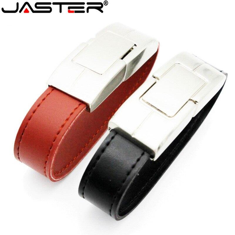 JASTER Leather Bracelet USB Flash Drive Pendrive 4GB 8GB 16GB 32GB USB 2.0 Flash Memory Sticks Wristband Pen Drive