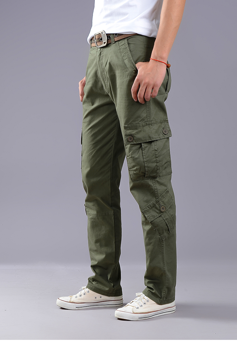 KSTUN Cargo Pants Men Combat Army Military Pants 100% Cotton 4 Colors Multi-Pockets Flexible Man Casual Trousers Overalls Plus Size 38 13
