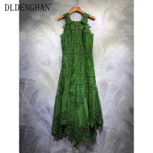 Embroidery Dress Sexy Fashion Women's Sleeveless Autumn DLINGHAN Water-Soluble Hollow-Out