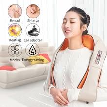Home Car U Shape Electrical Shiatsu Back Neck Shoulder Body Massager Infrared Heated Kneading Car/Home Massagem