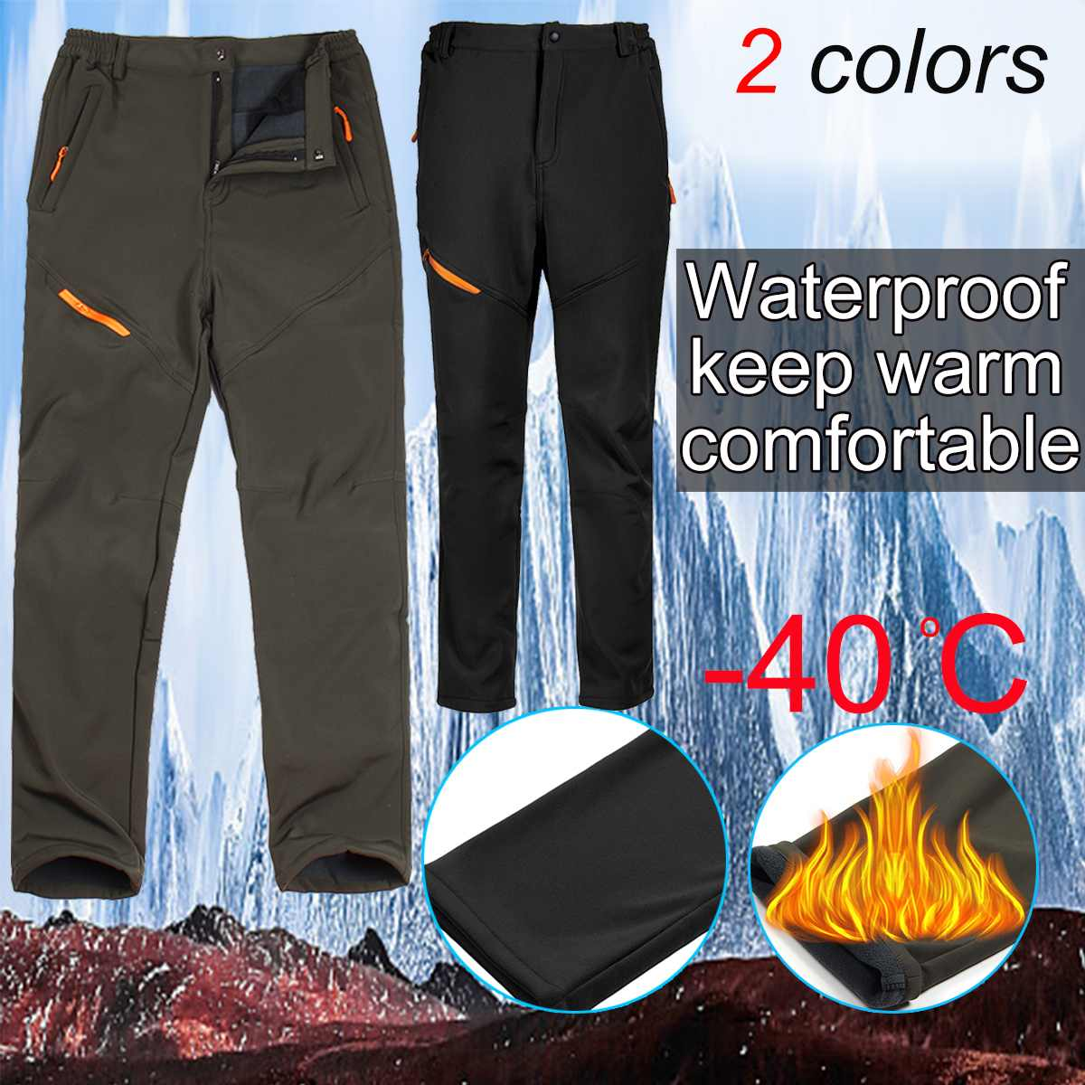 Men's Plus Velvet Thick Autumn And Winter Soft Shell Pants Trousers Outdoor -40 Degree Snow Ski Pant Snowboard For Male / Female