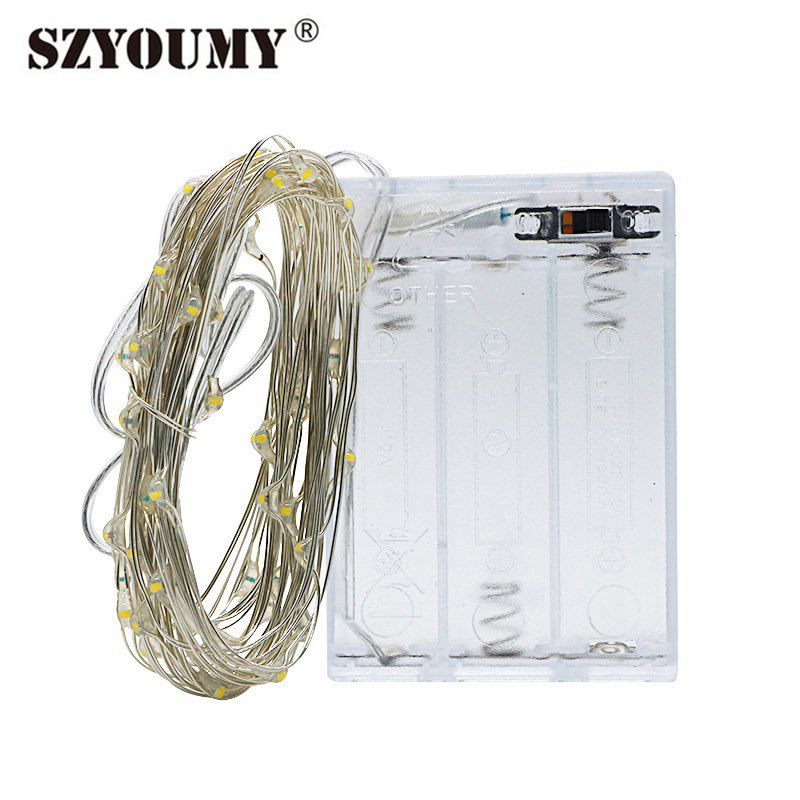 SZYOUMY LED String Light Fairy Light 1m 2m 5m 10m Silver Wire Christmas Wedding Party Decoration Garland Lights