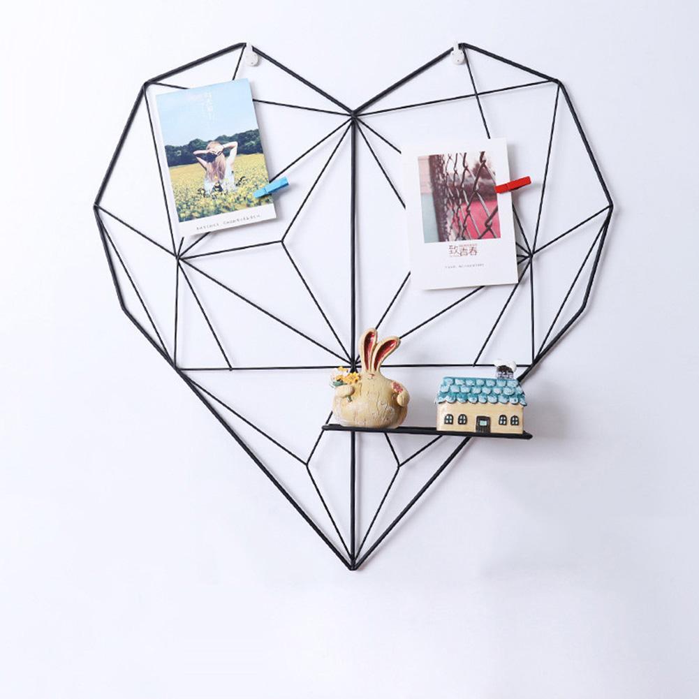 New Home Cafe Heart Wall Hanging Clips Cords Photos Storage Rack Shelf Holder Decor Postcard Frame Art Ledge
