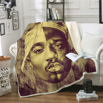 custom diy print warm christmas blankets 150x200cm merry christmas blanket flannel fabric sofa bed blanket home decor blanket Two-layer Blanket Biggie Smalls Tupac 2Pac Blankets Adult Quilt 3D Print Rapper Warm Soft Plush Child Blanket For Beds Home Sofa