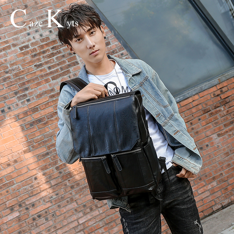 Genuine Leather Backpack Men's High Quality Fashion Retro Backpack Multi-function Multi-card Travel Punk Men Bags Free Shipping