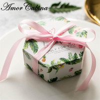Creative shape green Flamingo Green forest leaf Candy Boxes Wedding Favors Bomboniere paper Gift Box Party Chocolate box