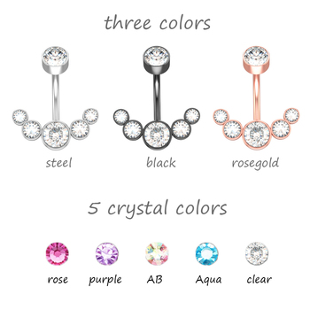 14G Dangle Belly Button Rings for Women Girls 316L Surgical Steel Curved Navel Barbell 5 Crystals Body Jewelry Piercing Ombligo 2