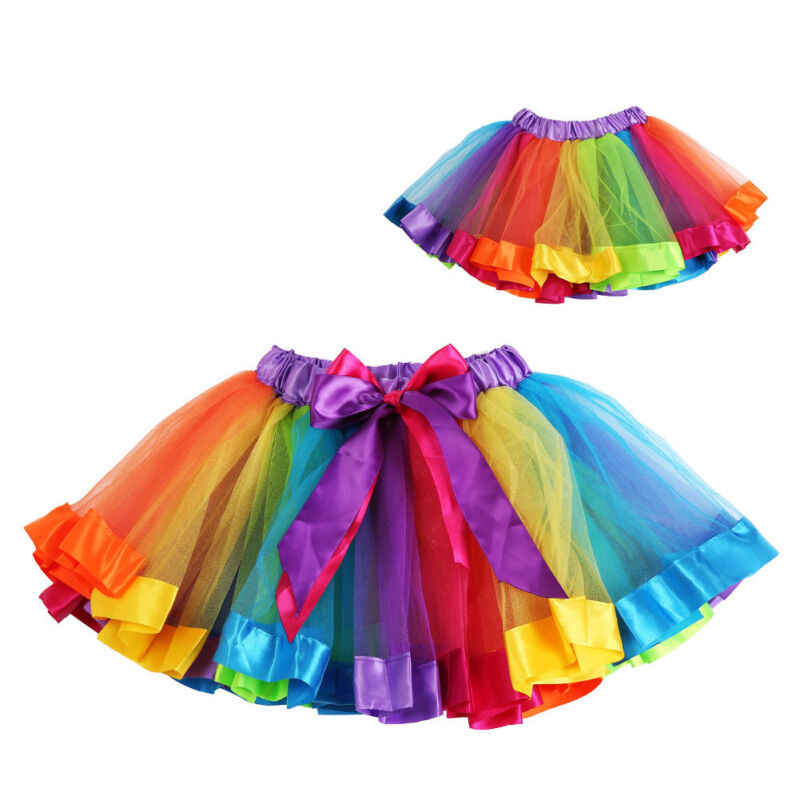 Faldas de bebé a estrenar para niñas princesas Arco Iris tul tutú falda fiesta Ballet baile Show arco iris Color moda 2019