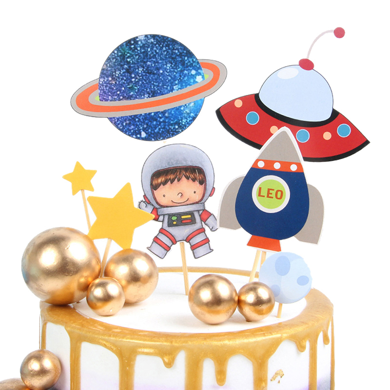 Outer Space Party Astronaut Rocket Ship Theme Foil Balloons Galaxy/Solar System Party Cake Toppers Boy Birthday Supplies-3
