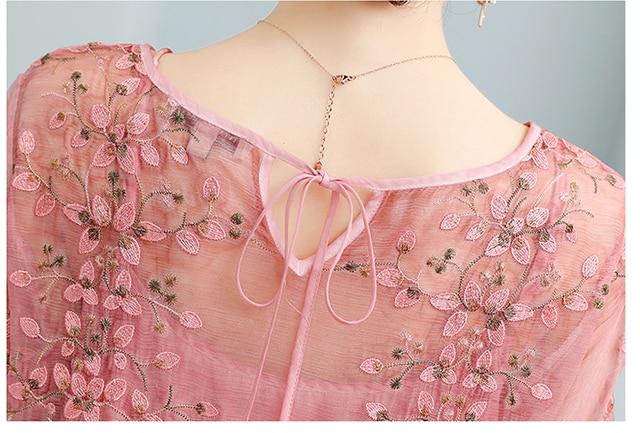 ZUOMAN New Spring Plus Size 4xl Dress Summer Female Silk Dress Female Embroidery Long Vestidos Robes Plus 5
