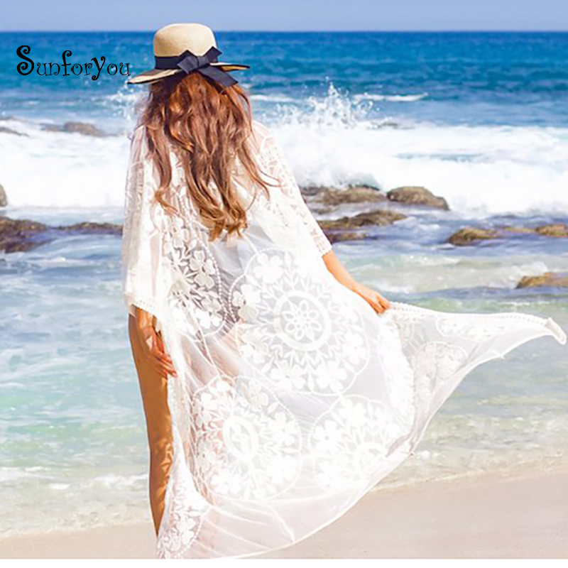 New Sexy Mesh Beach Cover Up Swimsuit White Embroidery Plus Size Long Dress Women Bikini Swimwear Bathing Suit Beach Tunic