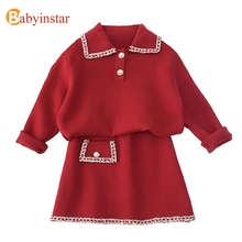 Babyinstar Kinderkleding Sets Voor Meisjes Outfits 2020 Winter Meisjes Truien Kids Vest + Rok Pak Set Kinderkleding Set
