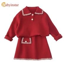 Babyinstar zestawy ubrań dla dzieci dla dziewczynek stroje 2020 zimowe dziewczyny swetry dzieci Cardigan + zestaw spódnica i garsonka zestaw odzieży dla dzieci