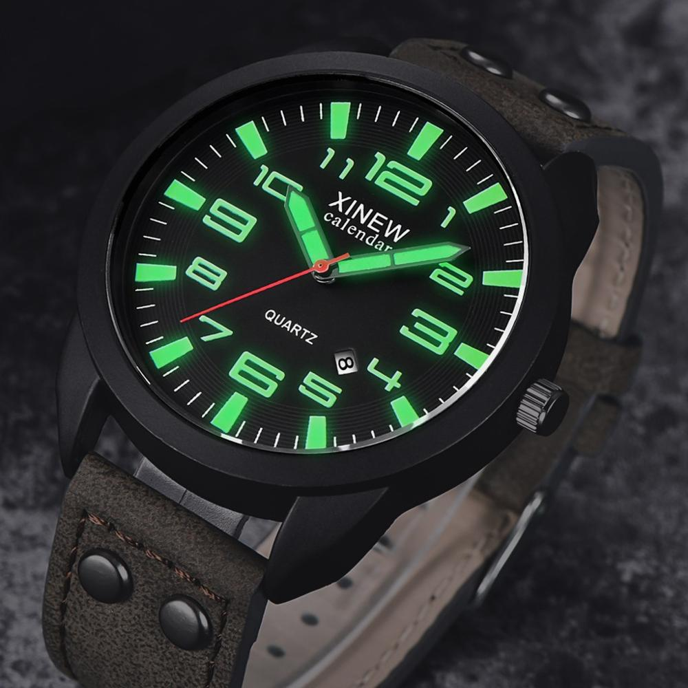 Leather Strap Waterproof Date Quartz Analog Men's Wrist Watches Classic Men's Boy Luminous Sport Watch Relogio Masculino
