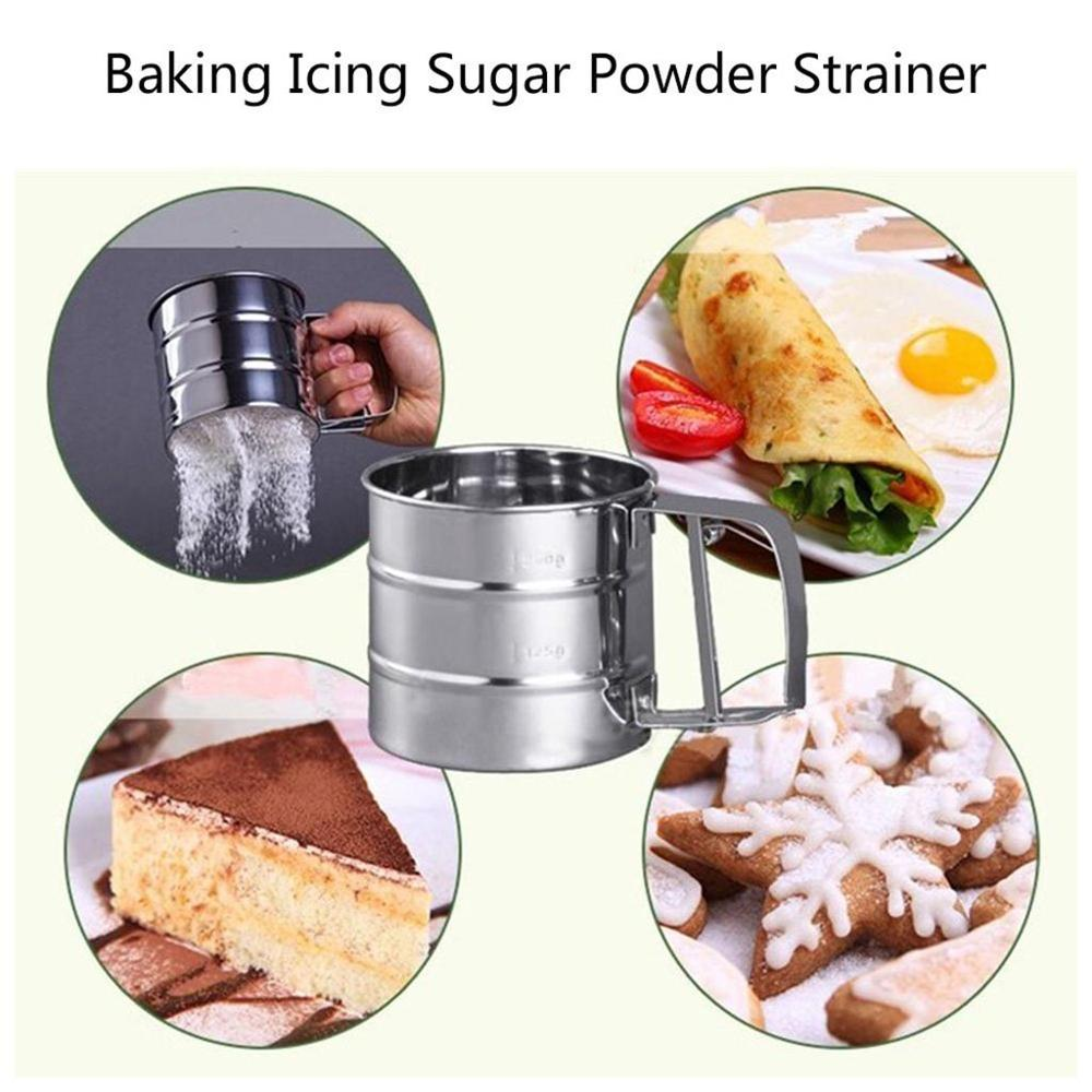 Sieve Sifters Flour Mesh Icing-Sugar Hand-Pressed Stainless-Steel Pastry-Tool Sieve-Cup-Powder-Flour title=