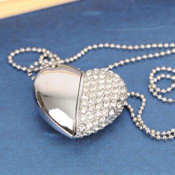 Luxury Heart Jewelry USB Flash Drive 128GB USB 3.0 High Speed Pen Drive 64GB Pendrive 1TB 2TB 32GB 16GB Memory Card Stick Gift