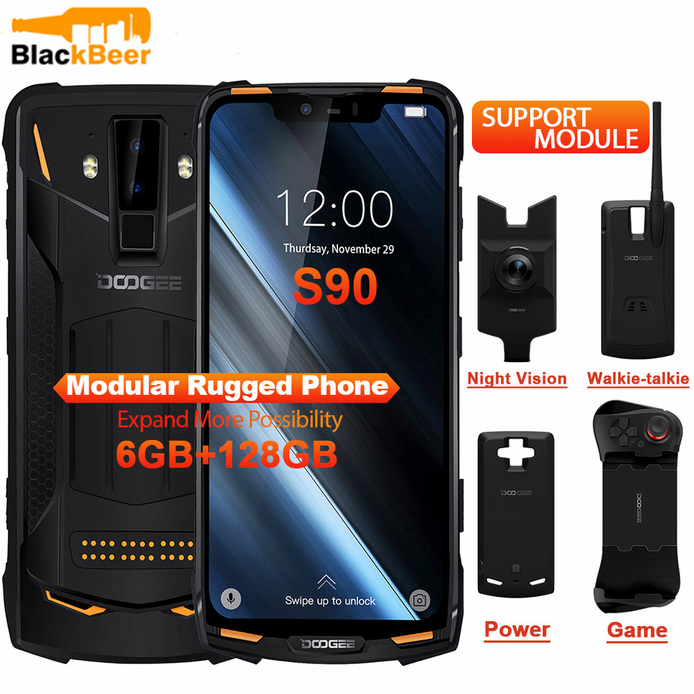 DOOGEE S90 Cellphone IP68 IP69K Rugged Mobile Phone 6.18 Inch IPS Display 5050mAh MT6771 Octa Core 6GB 128GB Android 8.1 16.0MP