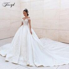 Traugel סקופ קו סאטן חתונת שמלות יוקרה Applique שרוולים ללא משענת הכלה שמלת קתדרלת רכבת כלה שמלה בתוספת גודל