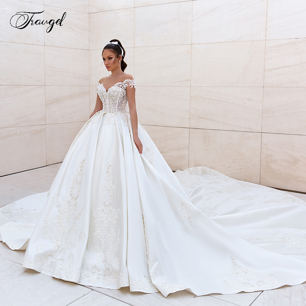Traugel Scoop A Line Satin Wedding Dresses Luxury Applique Sleeveless Backless Bride Dress Cathedral Train Bridal Gown Plus Size