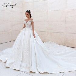 Traugel Scoop EINE Linie Satin Brautkleider Luxus Applique Sleeveless Backless Braut Kleid Kathedrale Zug Brautkleid Plus Größe