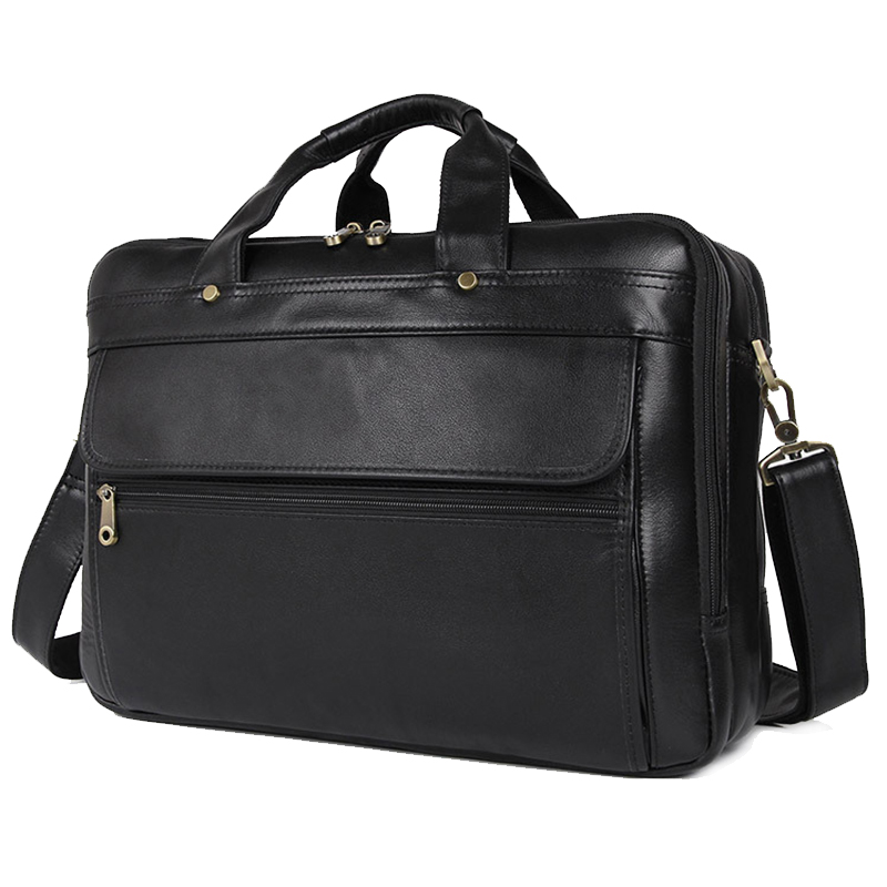 MAHEU Luxury Black Mens Leather Handbags Soft Leather Laptop Bag 14 14.6 15 15.6 Inch Notebook Shoulder Bag Handbag Briefcase