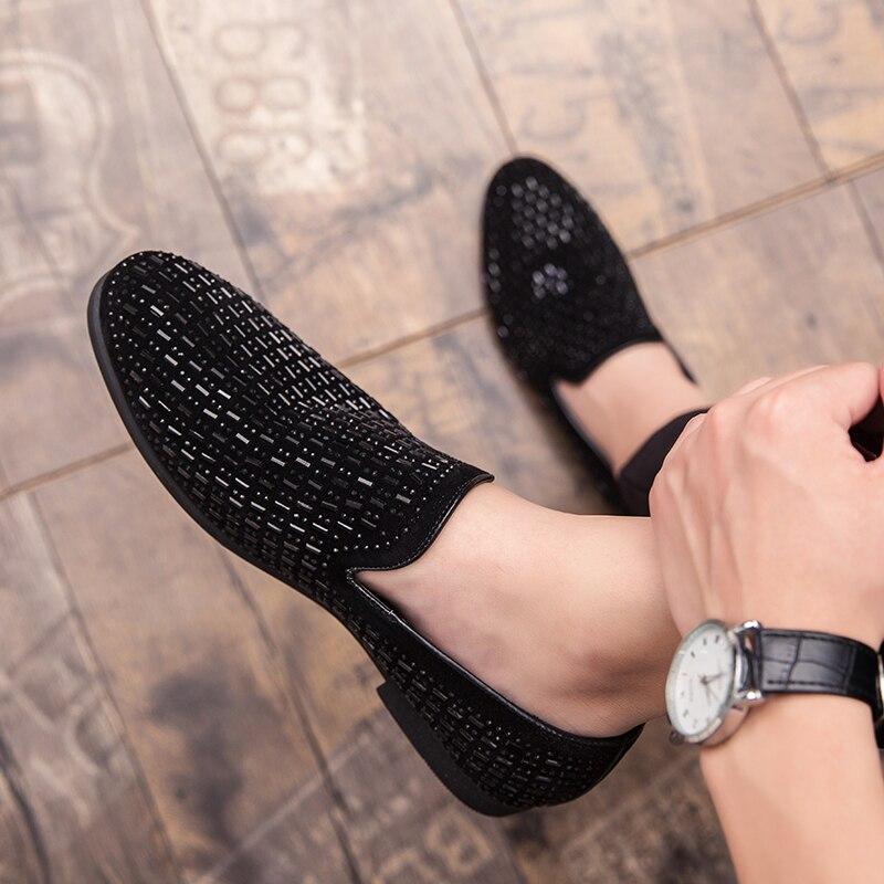 Мужские парадные туфли со стразами, роскошные модные вечерние туфли в итальянском стиле на плоской подошве, деловые Лоферы для ночного клуба и свадьбы, 2020|Повседневная обувь|   | АлиЭкспресс