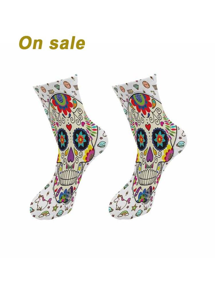 Новинка, мужские короткие носки с 3D-принтом на Хэллоуин, веселые длинные носки со скелетом, уличные трендовые носки в стиле Харадзюку, хип-хо...