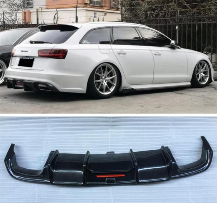 Carbon Fiber Rear Bumper Lip Spoiler Diffuser Cover For AUDI A6 S6 RS6 Avant 2015 2016 2017 2018 image