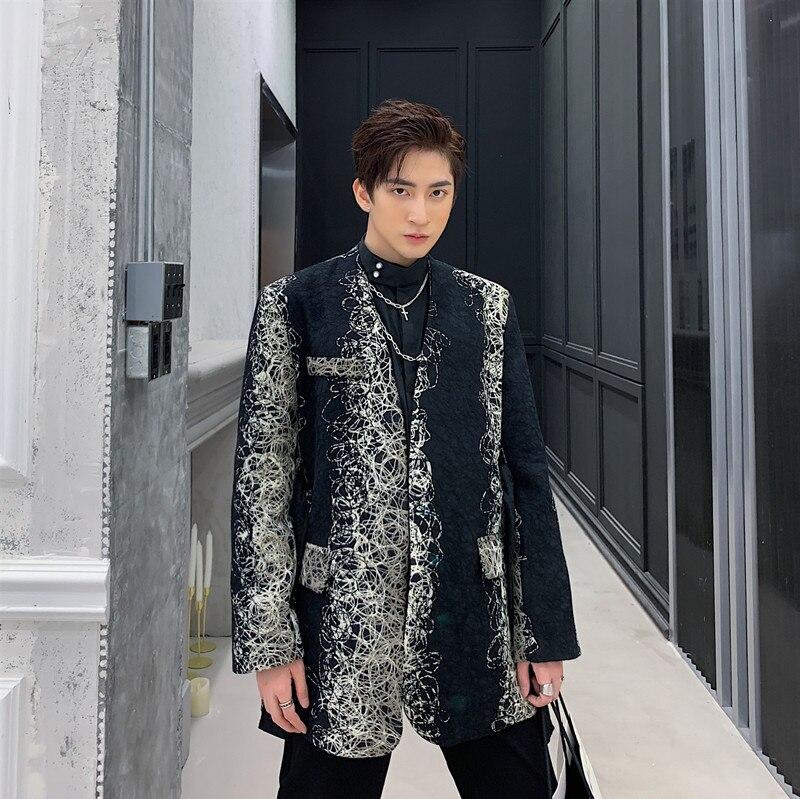 Men Wool No Button Belt Casual Suit Coat Male Vintage Fashion Blazer Jacket Spring Autumn Clothing