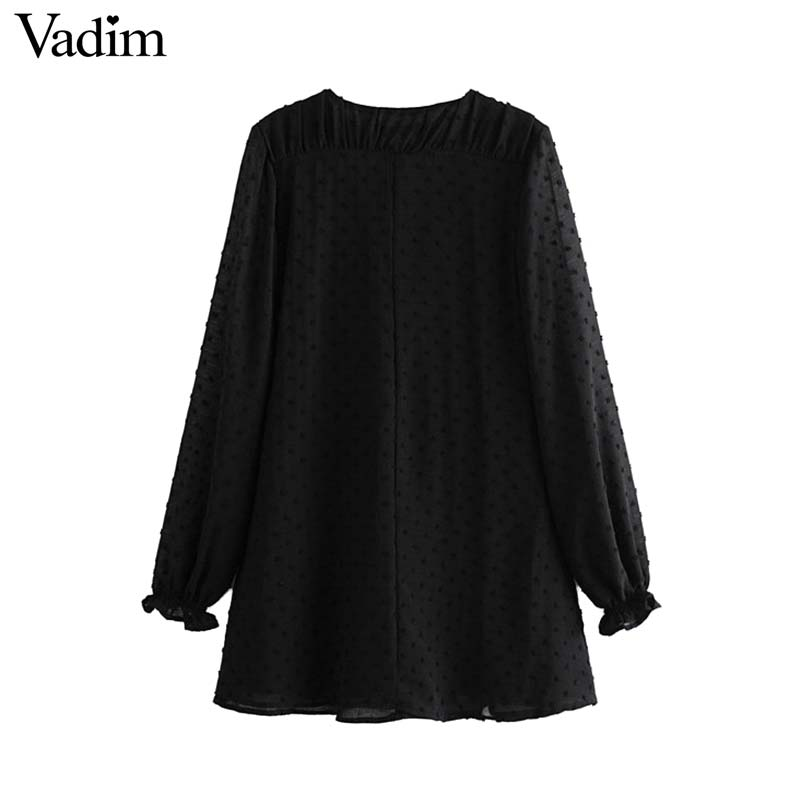 Vadim women vintage black mini dress V neck pleated long sleeve female casual solid straight dresses vestidos QC689
