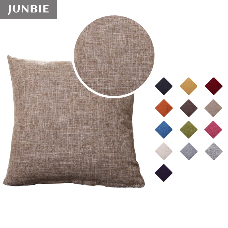 JUNBIE Faux Linen Pillow Cover Solid Color Decorative Throw Cushion Cover Modern 45x45 50x50 55x55 size