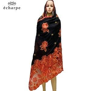 Image 4 - Женские шарфики с мусульманской вышивкой в африканском стиле, мягкий хлопковый большой шарф для шали, Пашмина BM937