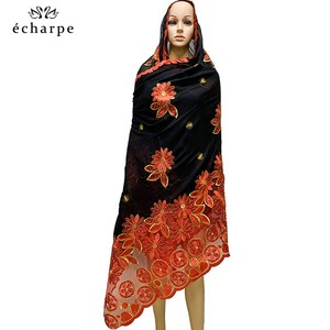 Image 4 - New African Women Scarfs muslim embroidery soft cotton big scarf for shawls wraps pashmina BM937