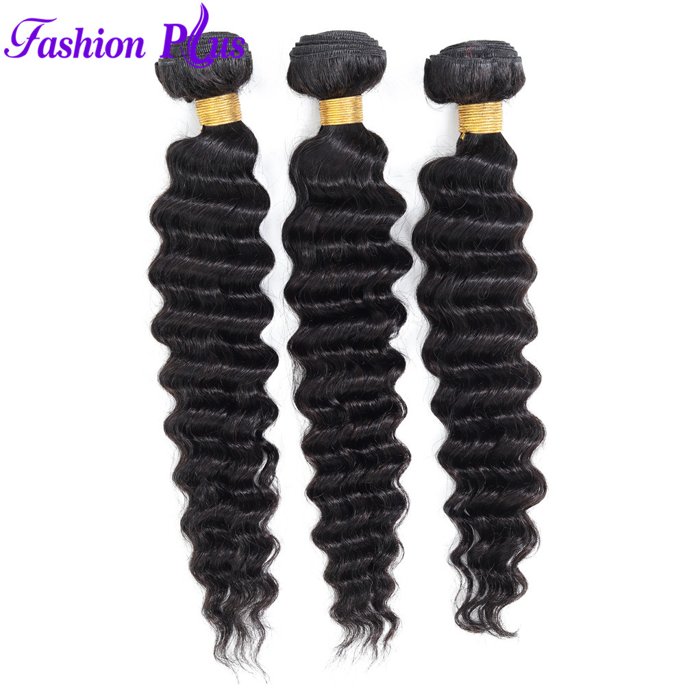 Brazilian Remy Hair Deep Wave Human Hair Bundles Weave 3Pcs  Natural Color For Salon Beauty Supply Hair 10-30 Inch