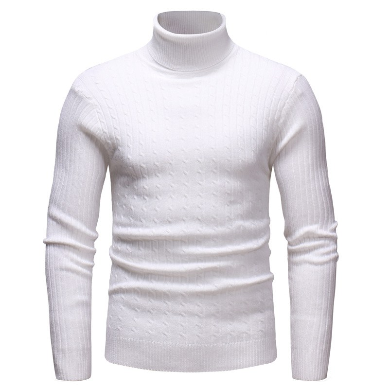 Autumn Winter Men's Bottoming Sweater High Collar Long-sleeved Solid Color Slim Warm Sweater New Arrival