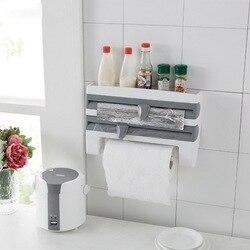 Держатель для хранения бумажных полотенец, кухонной пленки 4 в 1, многофункциональный диспенсер для бумаги, настенный держатель для бумажны...