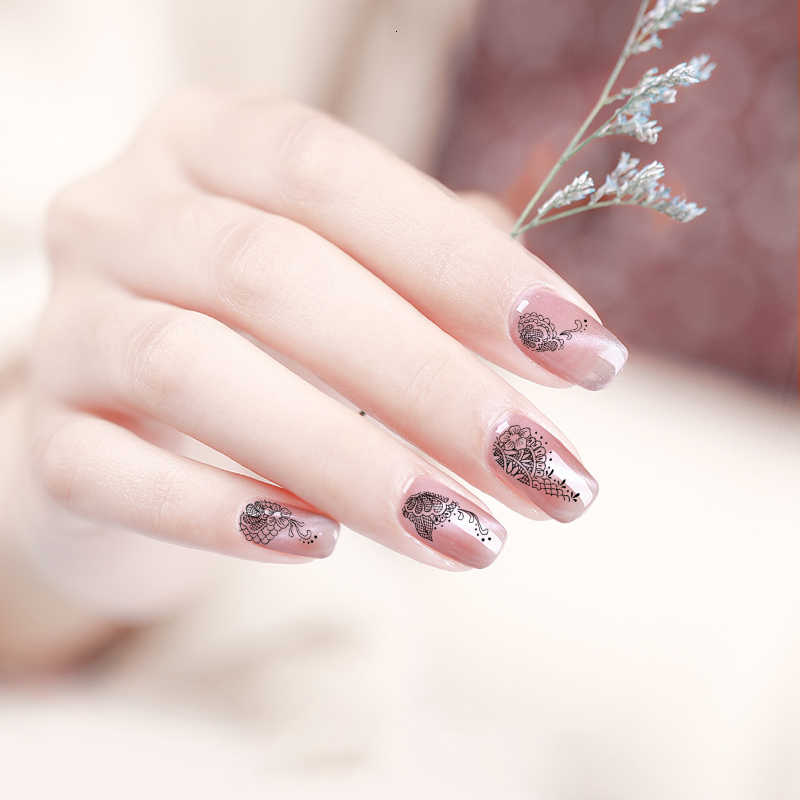 Black White Nail Stickers Foil Art Sticker Flower Rose Peony Plum Sunflower Bow Leopard Lace Nails Sticker Lace Water Decals