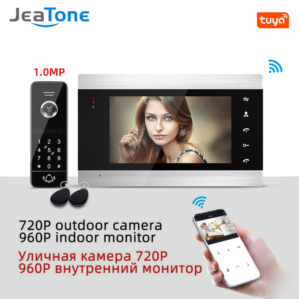 Tuya App Remote Control WiFi Video Door Phone Intercom Home Access Control System Keypad/RFID Card App Unlock Motion Detection