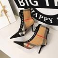 Hot Plaid Patchwork Flock Leder Stiefel frauen Mode 8cm High Heels Knöchel Pumpen Spitz Spitze-Up casual Damen Kurze Stiefel