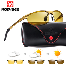 Óculos de sol fotochromic de magnésio de alumínio polarizado dia visão noturna homens oculos motorista amarelo masculino óculos de condução gafas