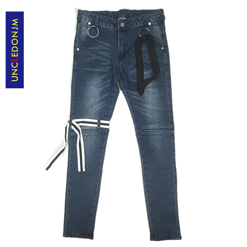 UNCLEDONJM High Quality Vintage Washed Slim Denim Distressed Jeans Biker Jeans Fashion Punk Rock Trousers Ankle-Length Pants