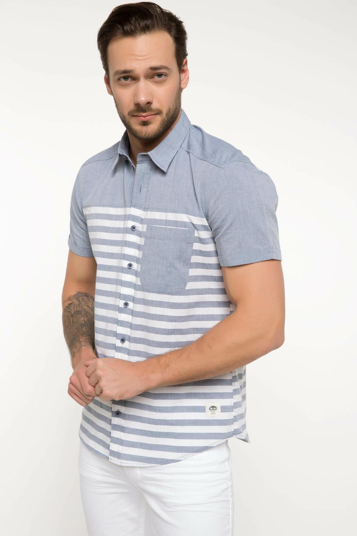 DeFacto Men Fashion Simple Shirts Short Sleeve Striped Shirts Mens Casual Lapel Collar Casual Shirt New - I6389AZ18SM