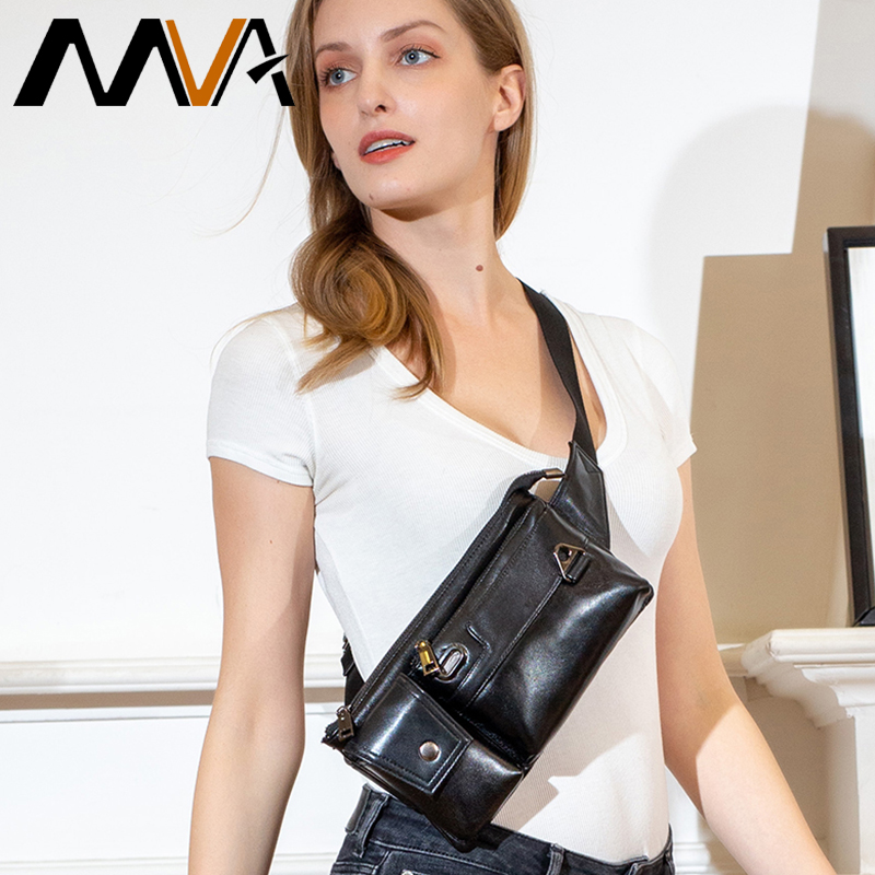 MVA 100% Sheep Leather Belt Bag Women's Waist Bag Small Fanny Pack For Women Multi-function Waist Pack Leather Female Chest Bag
