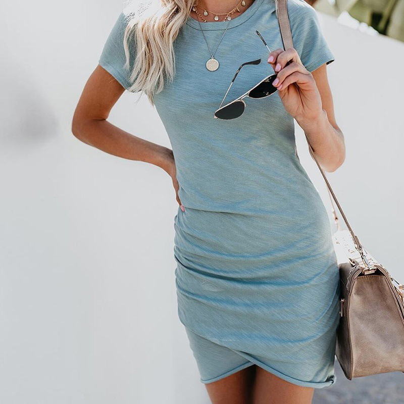 Casual Dresses Women Mini Dress Bodycon Slim Party Dress Short Sleeve Solid Summer Beach Sundress Sexy Vestido Mujer Plus Size