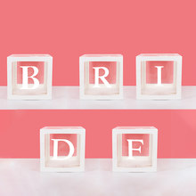 Boîtes à ballons de décoration pour fête prénuptiale, blocs transparents blancs, lettres a-z pour fiançailles, enterrement de vie de jeune fille, accessoires de mariage