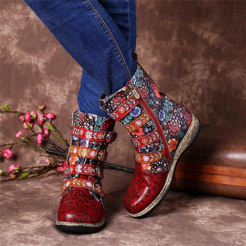 Дизайнерские женские Лоскутные ботильоны из натуральной кожи с пряжкой; модная зимняя теплая Байкерская обувь с флисовой подкладкой - 6