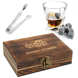 Whiskey Stones Gift Set - 9Pcs Granite Whiskey Stones Ice Cubes Whisky Rocks - Reusable Drink Cooler Chilling Stones with Tongs