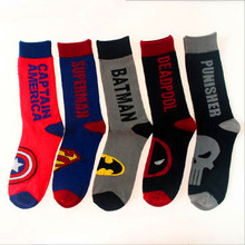 Fashion Men Cotton Colorful Socks Happy Cartoon Superhero Socks Letter Avengers Batman Marvel Comics Marvel Unisex Socks толстовка marvel comics