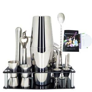 Shaker-Rack Bartender-Kit Barware Straw Set-13pieces Spoon Pourer Ice-Tong Premium Includes