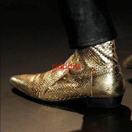 Men Boots Pointed Toe Low Heels Pu Leather Gold Shoes Bota Coturnos Masculino Botas Hombre Blancas Big Size 38-47 Men Boots D85